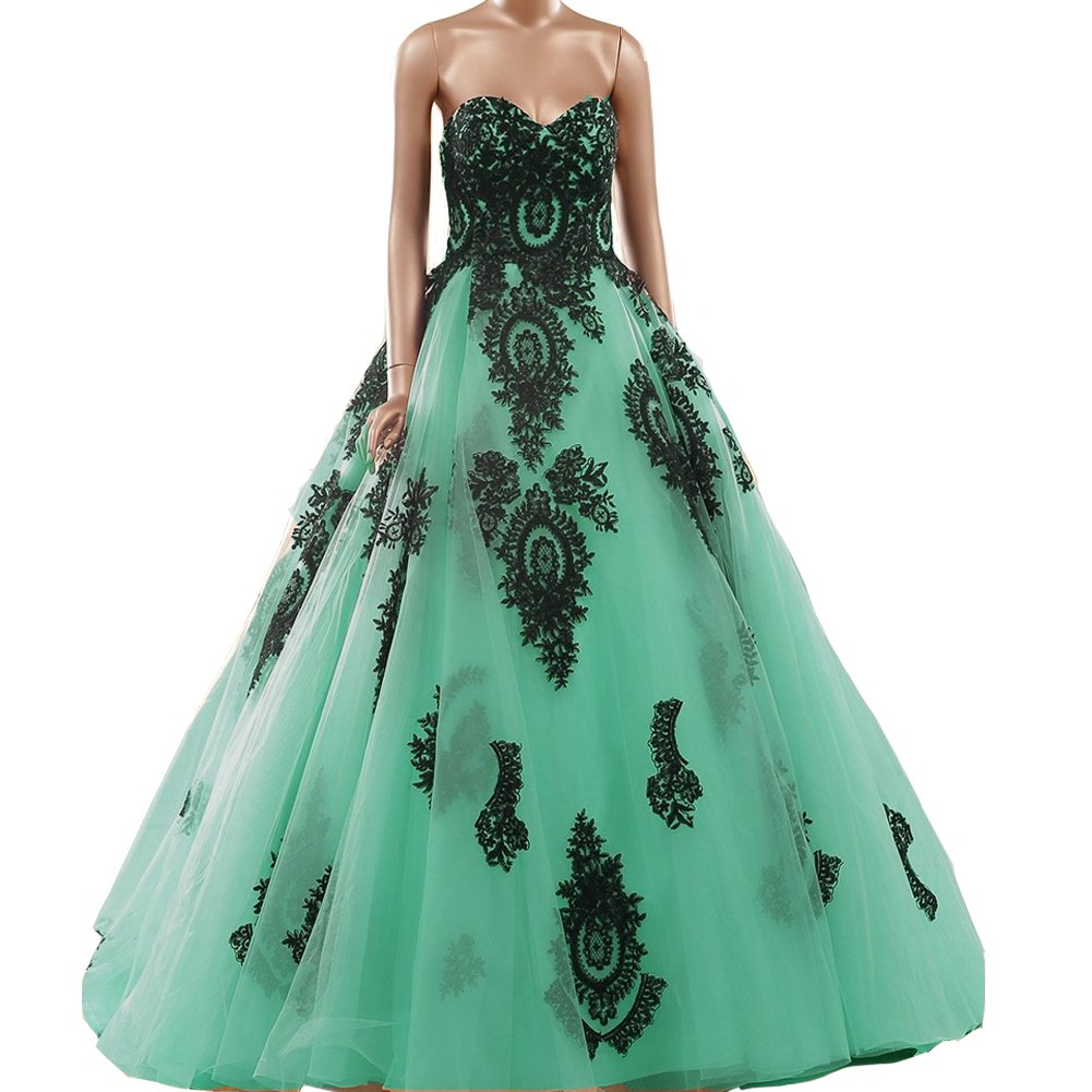 Kivary Gothic Black Lace Tulle Ball Gown Sweetheart Long Corset Prom Evening Dresses Mint US2