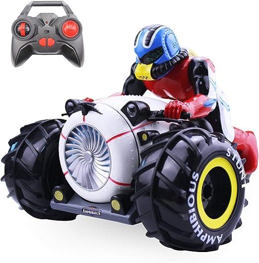 Kaiaki RC Car High Speed Spinning Stunt Car 2.4G Control Remoto Motocicletas anfibias en vehículo terrestre y acuático Juguetes para niños,Black: Amazon.es: Deportes y aire libre