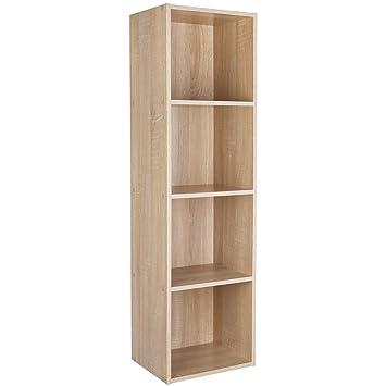 Cubi Di Legno Scaffale.Homfa Libreria Mobile Per Archiviazione Con Mensola In Legno Scaffale Cubo Per Libri Marrone 106 23 5 30 Cm