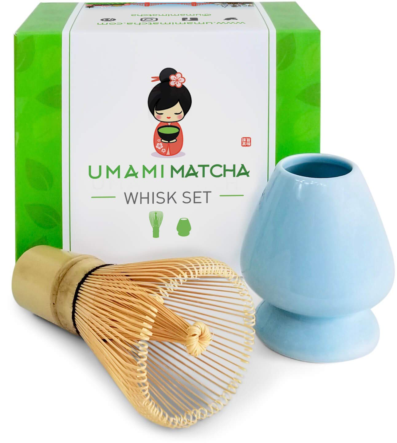 Umami Matcha Whisk Set | Matcha Bamboo Whisk (Chasen) & Blue Ceramic Matcha Whisk Holder | 100 Tine Matcha Tea Wisk & Stand | Ceremonial Matcha Tea Set | Starter Matcha Kit For Japanese Tea Ceremony