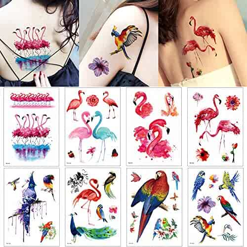 1bdfb4e20 8 Sheets Flamingo Animal Design Temporary Tattoo Sticker Water Transfer Body  Party Gift