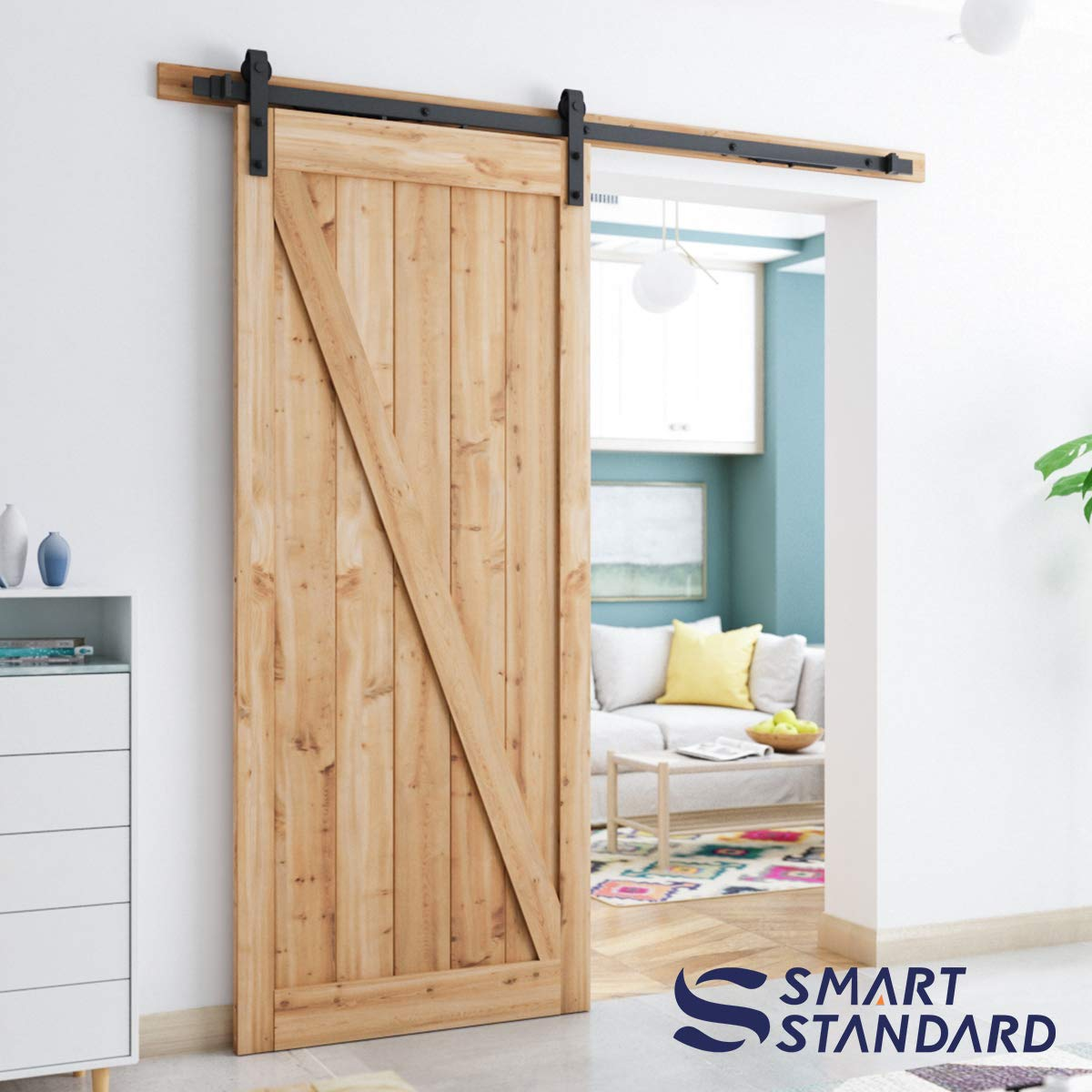 6.6ft Soft Close Heavy Duty Sturdy Sliding Barn Door Hardware Kit - Smoothly and Quietly - Simple and Easy to Install - Includes Step-By-Step Installation Instruction -Fit 36''-40'' Door Panel(J Shape) by SMARTSTANDARD (Image #2)