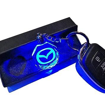 VILLSION 7 Colores Cambiantes Logo Coche Mazda Llavero con luz LED Llave Accesorios