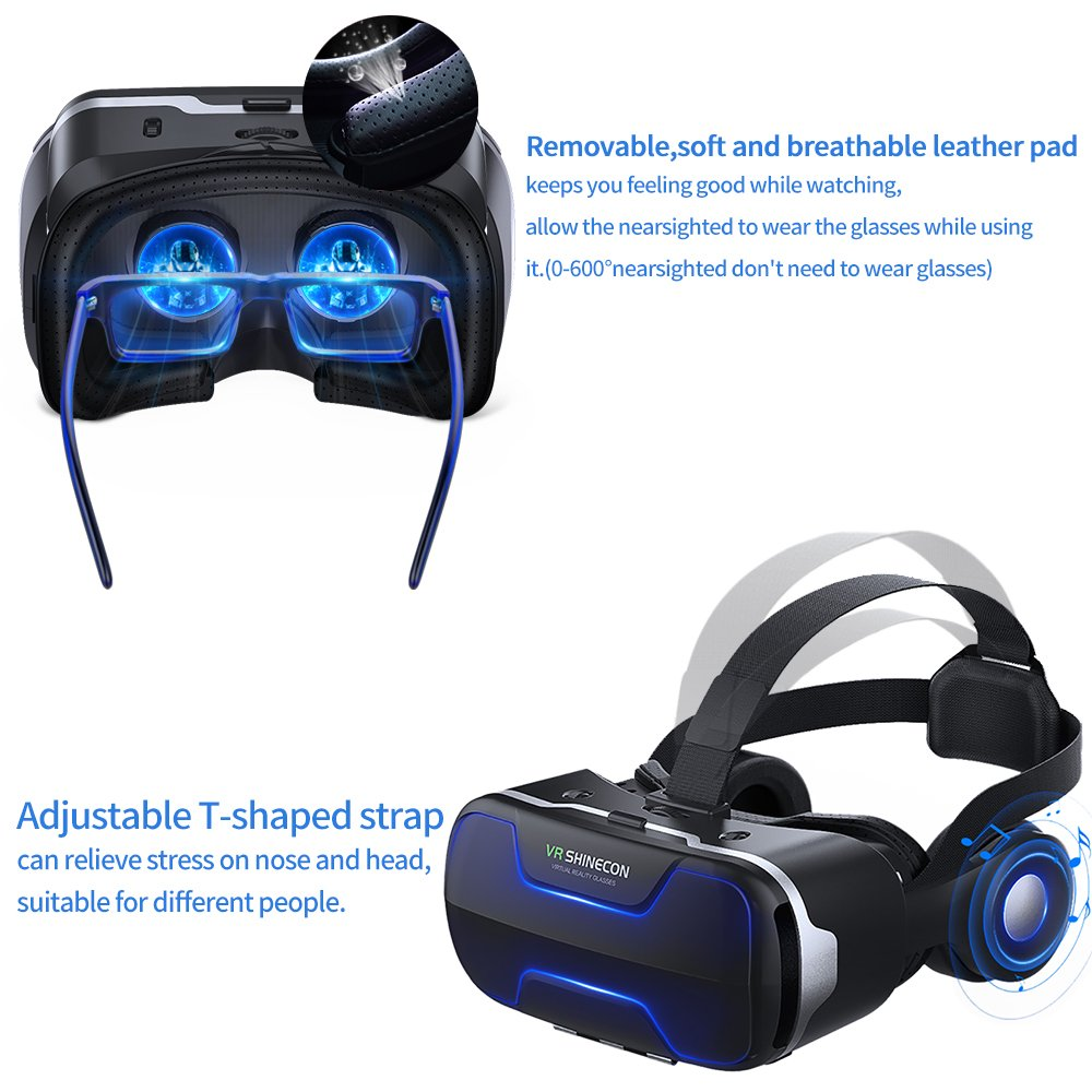 VR Headset, Cobra Tech 3D VR Virtual Reality Headset with Remote Controller and Adjustable Lenses For 3D Movies and Games,Comfortable & Immersive Experience VR Goggles for IOS and Android Device by Cobra Tech (Image #6)