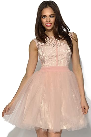 Little Mistress Rosa Floral Encaje Prom Vestido Rosa Rosa