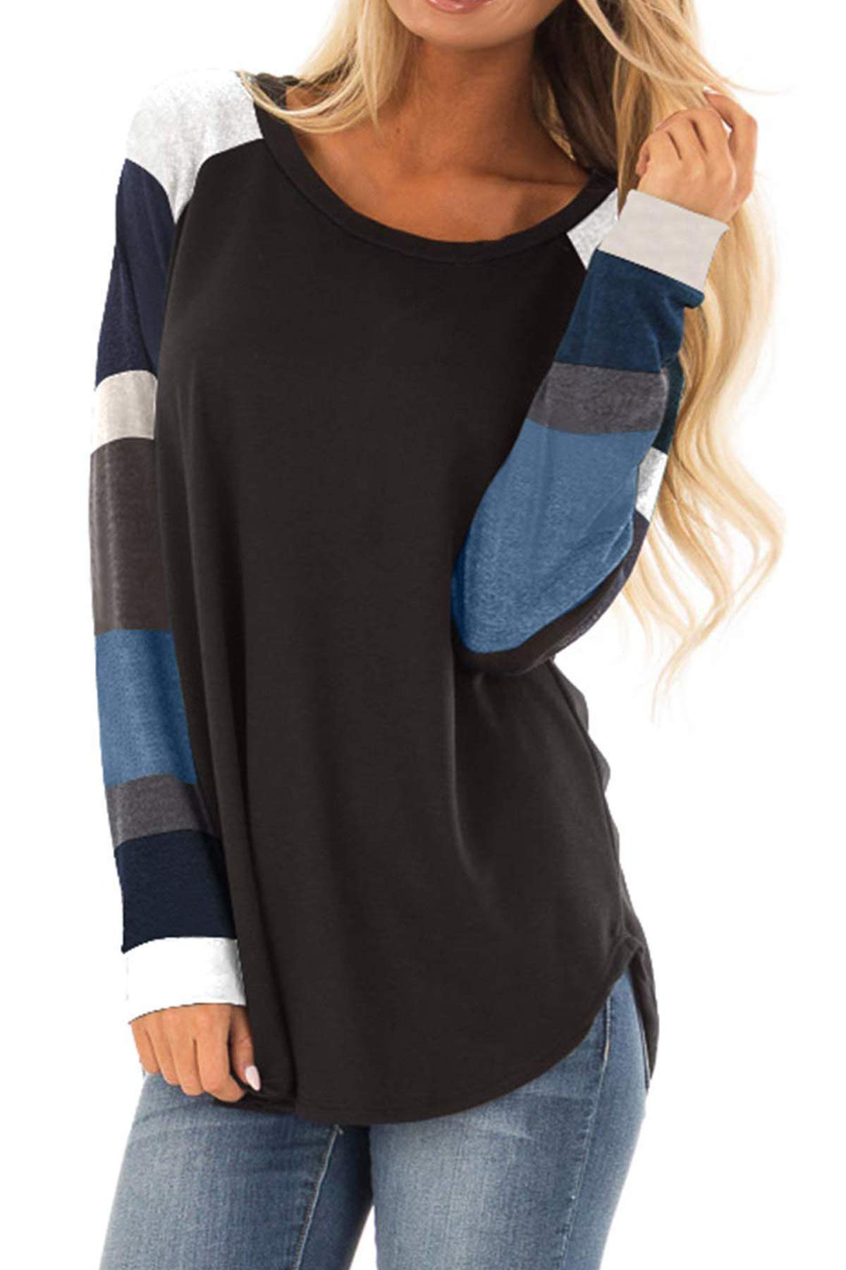AMCLOS Womens O-Neck Shirts Striped Tops Tunic Blouses Casual Long Sleeve (M, A-Black)