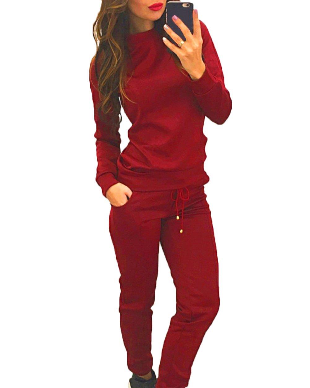 Women's 2Pcs Crew Neck Long Sleeve Tracksuit Sweatshirt Pants Sets Pullover Outwear