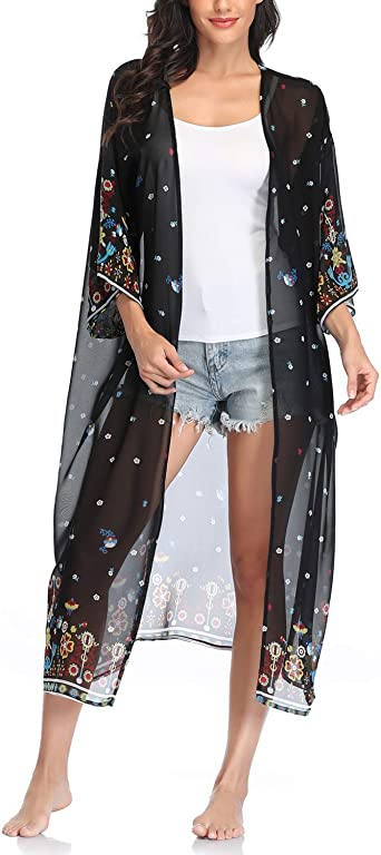 Long Lightweight Summer Cardigan Cover up Swimsuit coverup Bohemian Clothing White boho kimono duster with navy flowers Floral Duster