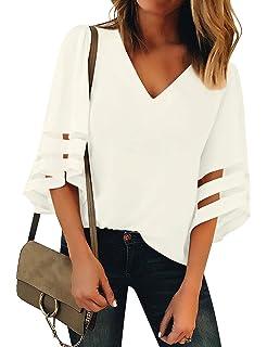 ca45257f07 LookbookStore Women's V Neck Mesh Panel Blouse 3/4 Bell Sleeve Loose Top  Shirt