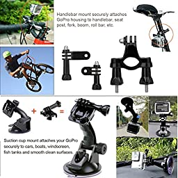 Kupton GoPro Hero 5 Session/ Hero Session Bundle Action Camcorder Camera Accessories Mounts Waterproof Housing Case Chest Head Bike Car Backpack Clip Mount