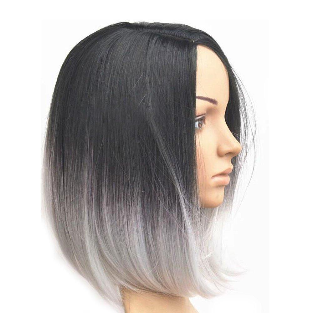 Amazon Com Kisspat Black White Ombre Wig Full Head Bob Style Fun