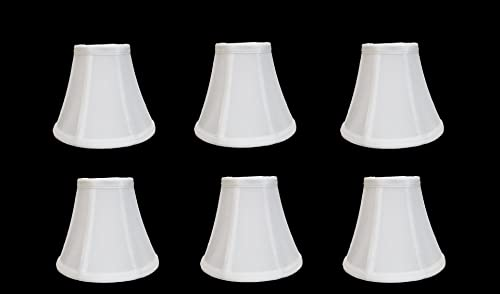 Urbanest Chandelier Lamp Shades, Set of 6, Soft Bell 3 x 6 x 5 White, Clip On