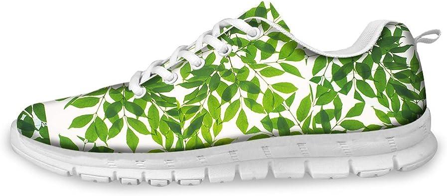 AXGM - Zapatillas de Running para Hombre, diseño de Hoja de árbol Vibrante, cómodas, Transpirables, Ideales para Caminar por la Calle, con Hojas Verdes, Planas: Amazon.es: Zapatos y complementos