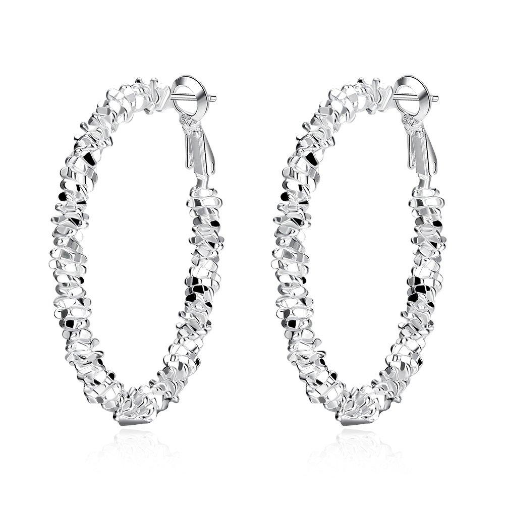 BODYA fashion Silver plated Large Circle String Diamond-Cut glitter Round Loops Huggie Hoop Earrings JY0592