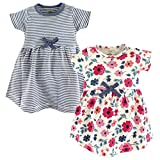 Touched by Nature Baby Girls' Organic Cotton Dress, Floral Stripe Short Sleeve 2-Pack, 9-12 Months (12M)