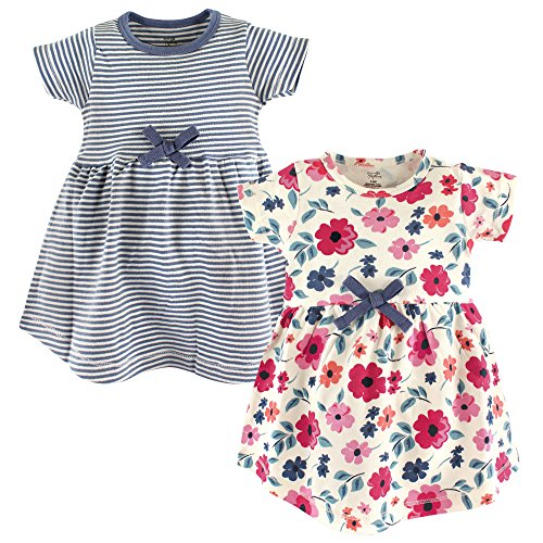 Touched by Nature Baby Girls 2-Pack Organic Cotton Dress, Floral Stripe, 2 Toddler