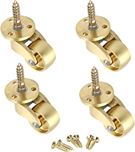 RZDEAL 4PCS Universal Caster Stem 360 Degree Rotation Brass Heavy Wheel Hardware Movable for Trunk Box Furniture Cabinet Sofa Trolley Chairs Bed