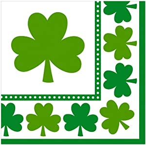 """amscan St. Patrick's Day Shamrocks Luncheon Napkins, 16 Ct.   Party Tableware, Green/White, 6 1/2"""" X 6 1/2"""""""