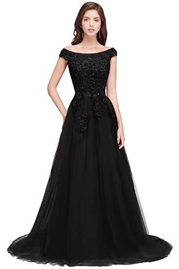 Misshow Womens Lace Appliques Cap Sleeve A Line Long Evening Prom Gown