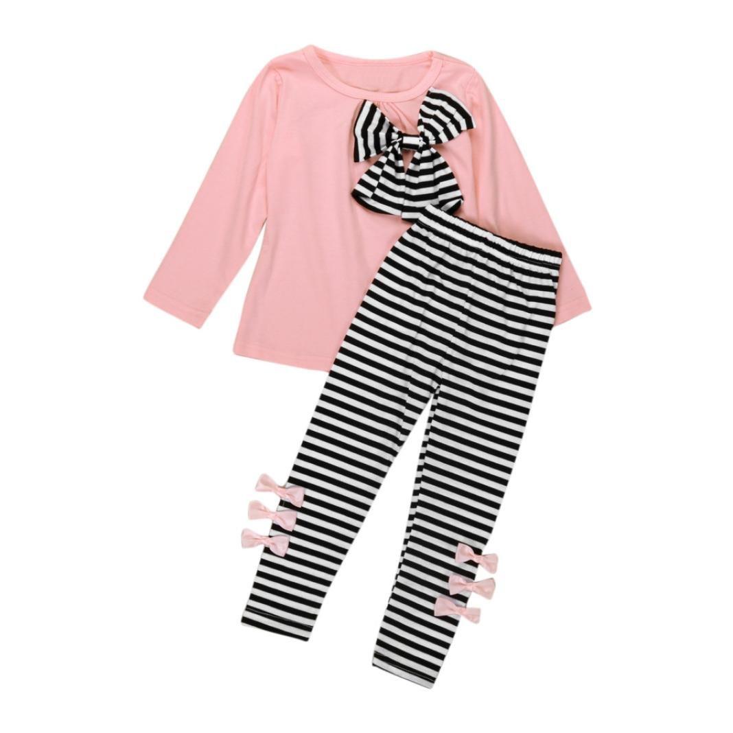Amlaiworld Bebés niñas Chicas Manga larga Bowknot Vestido Camiseta + rayas Pantalones Ropa Conjunto (5