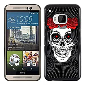 All Phone Most Case / Hard PC Metal piece Shell Slim Cover Protective Case for HTC One M9 Hippie Skull Peace Red Rose Devil