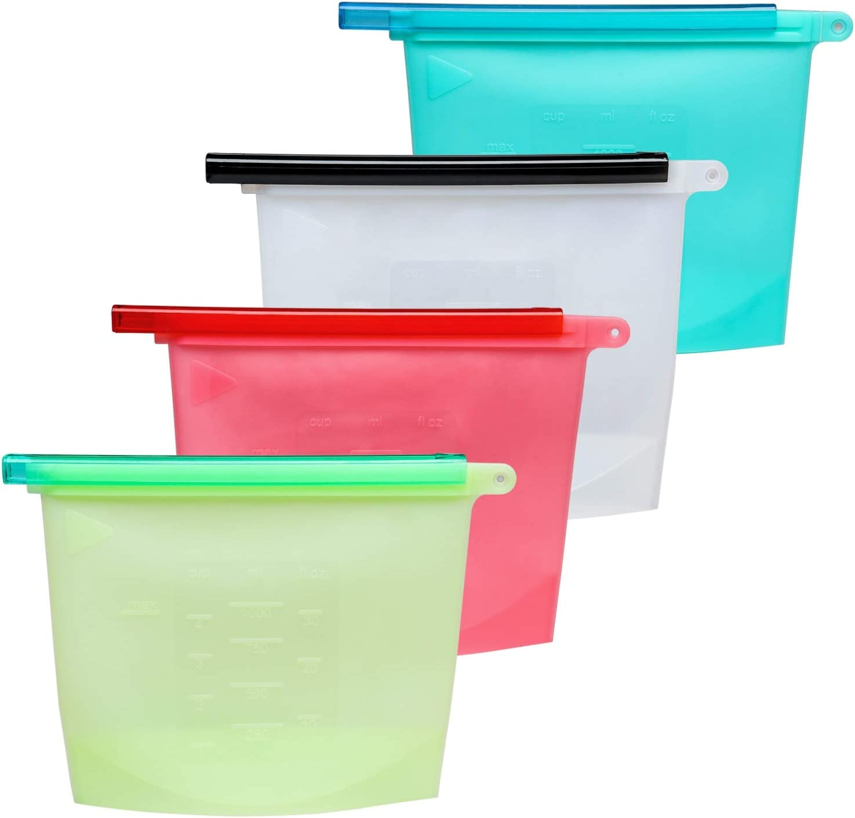 para frutas herm/éticas Bolsas de almacenamiento de alimentos de silicona ecol/ógicas sopa de carne Large 2 Pcs/&small 4 Pcs sin fugas reutilizables verduras sin BPA