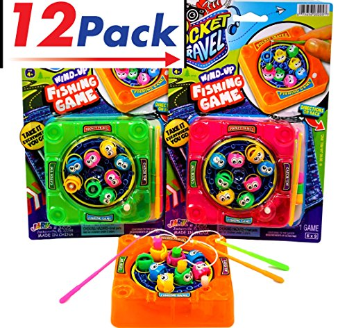 Magnetic Fishing Game by JA-RU | Kids Toys Wind Up Games Take It Everywhere You Go Includes 3 Fishing Poles 8 Mini Fish and 1 Board Pack of 12 | Item #3205 by JaRu