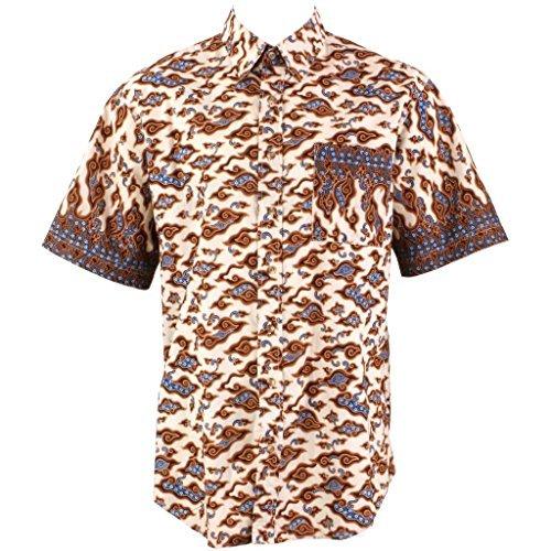 Loud Originals Regular Fit Hemd mit kurzen Ärmeln - Schwarz & Hell Orange Abstrakt