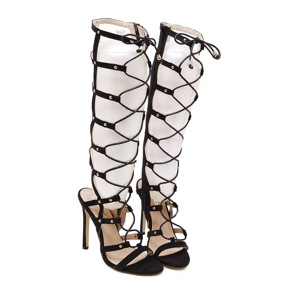- Women's Knee High Gladiator Ankle Strap Lace up High Heels Open Toe Stiletto Heeled Zip Sandal Boot,9MUS