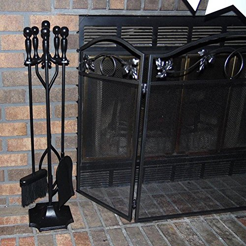 Amagabeli Fireplace Toolset 5 Pieces Wrought Iron Tools with Ball Handles,31-inch High,...