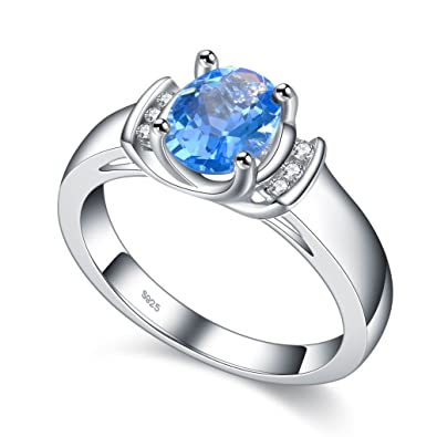 Argent 925 Femmes Bague aigue-marine Bleu Pierre de Cristal de bijoux pour  mariage Taille b82e9e581023