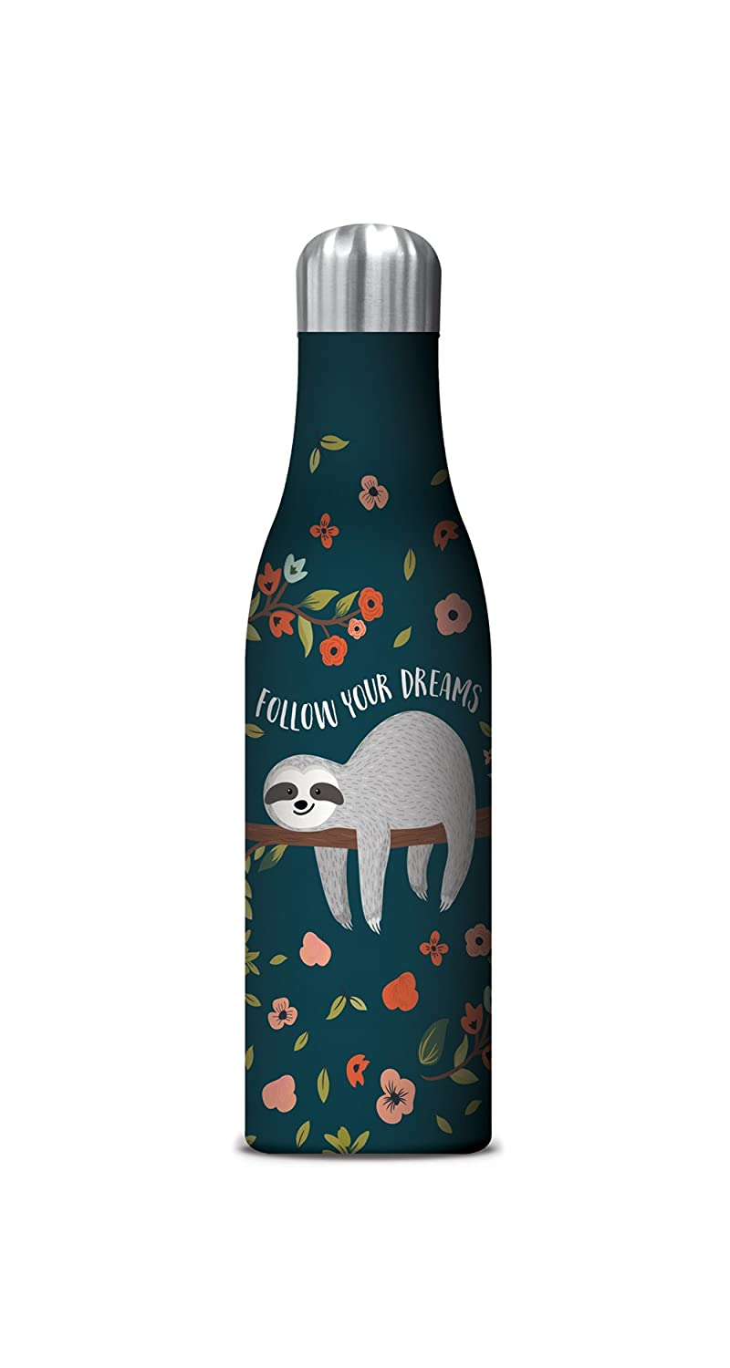 Studio Oh! 17 oz. Insulated Stainless Steel Water Bottle Available in 11 Different Designs, Follow Your Dreams Sloth