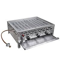 Tischbräter 3-flammig 2+1 Gas Brenner silber Edelstahl klein Tableroaster Balkon ✔ eckig ✔ Grillen mit Gas ✔ für den Tisch