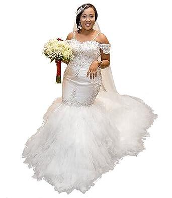 Xingmeng Off Shoulder Mermaid Plus Size Wedding Dress Tulle Bridal