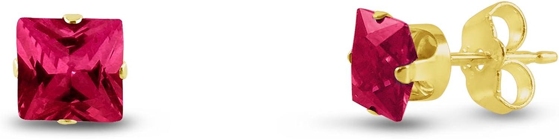 Cuadrado Kezef 3x 3mm extra pequeño laboratorio creado rojo rubí chapado en oro de plata de ley bebé Stud Pendientes