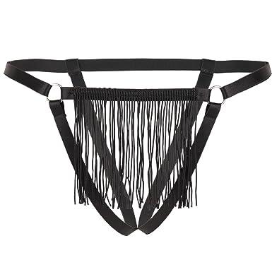 cf9df7bb21e FEESHOW Women Front Tassels G-string Thong Bikini Briefs Underwear Type B  One Size (Waist  60-140cm 24.0-55.0 inch)  Amazon.co.uk  Clothing