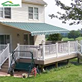 Diensweek 12'x10' Patio Awning Retractable Manual,Commercial Grade, Fully Assembled,100% 280G Polyester Window Door Sunshade Shelter,Deck Canopy Balcony 1 years warranty (12'x10', Green/White Stripes)