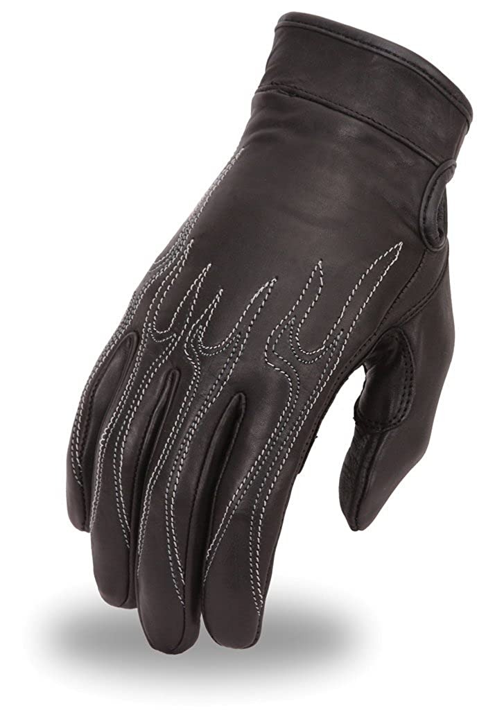 First Manufacturing Mens Flame Embroid Gel Driving Gloves FI153GEL