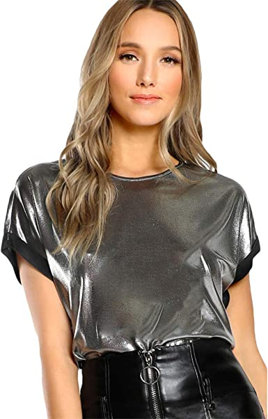 Moda, Mujer, Camiseta Plateada de Manga Corta con Cuello en O: Amazon.es: Ropa y accesorios
