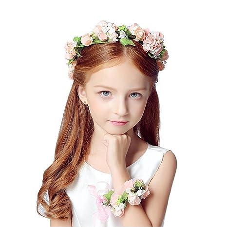 KOBWA - Juego de Diadema con Corona de Flores 9510960ad95b