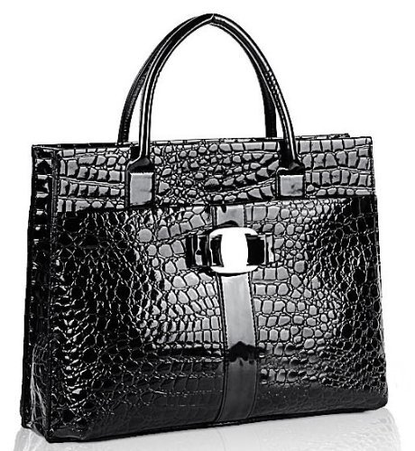 JOVANAS FASHION High Gloss Crocodile Print Office Tote Briefcase (Black)
