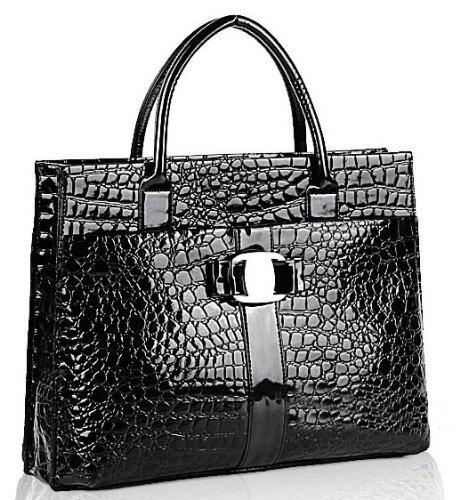 JOVANAS FASHION High Gloss Crocodile Print Office Tote Briefcase (Black)