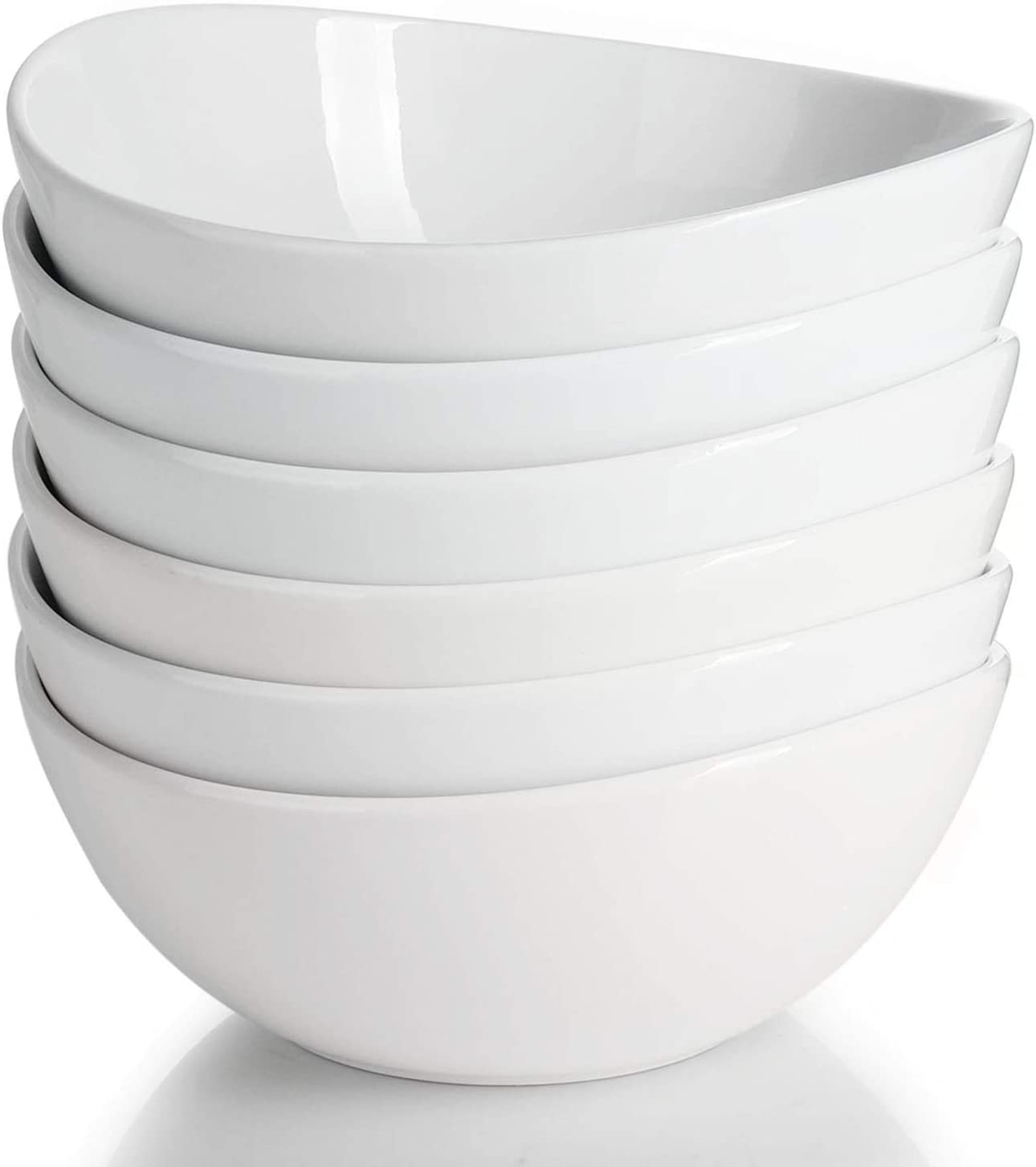 Sweese 103.001 Porcelain Bowls - 28 Ounce for Cereal, Salad and Desserts - Set of 6, White