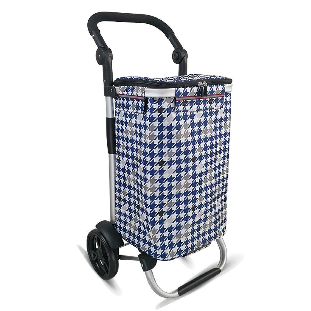 Aluminum Alloy Foldable Shopping Trolley 7-inch Bearing Wheel Grocery Shopping Cart,A