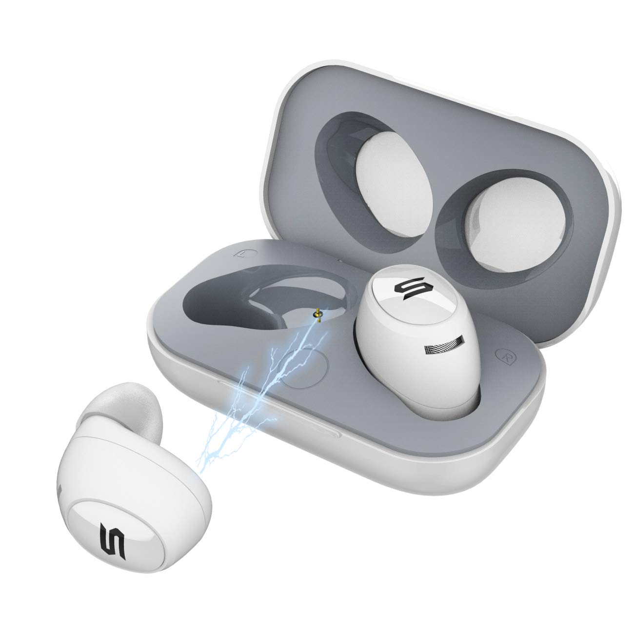 Wireless Earbuds, Soul Electronics Emotion Superior High Performance True Wireless Earphone. Bluetooth Headphone in Ear Headset with Mic. for iPhone Android Smartphones Tablets, Laptop. White