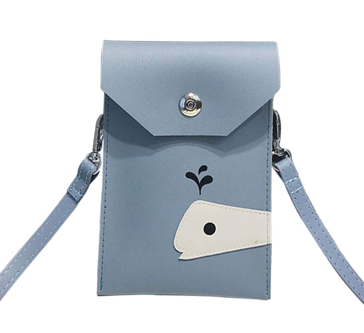 Degohome Roomy Pockets Series Small Crossbody Bag Cute Cartoon Dolphin Cell Phone Purse Wallet For Women(blue)