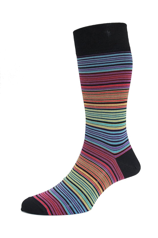 HJ Hall Herren Atlanta Streifen Luxury Mercerisierte Baumwolle Socken Weiche Wadenlange 8540 EUR40-45