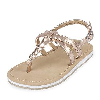 TG Braided SS Flat Sandal, Rose Gold