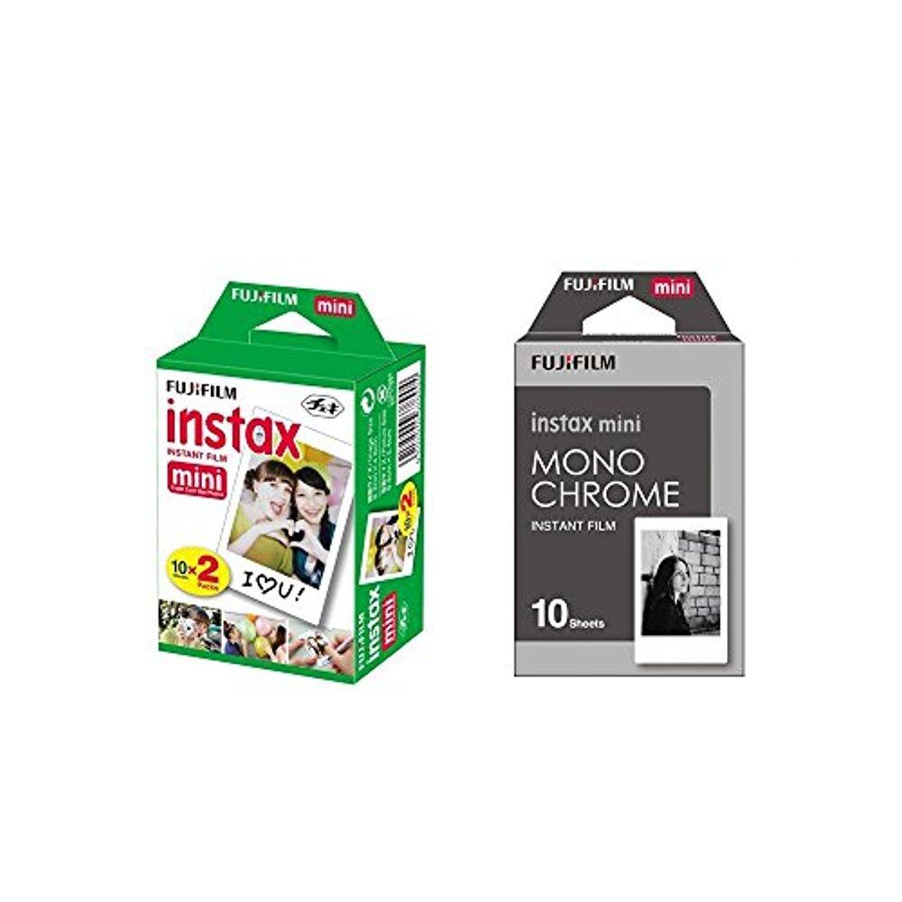 Fujifilm Instax Mini Instant Film 2-PACK BUNDLE SET , Twin Pack Film ( 20 ) + Film Monochrome ( 10 ) for Mini 90 8 70 7s 50s 25 300 Camera SP-1 Printer