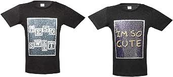 KINDER KLEIDER Black Round Neck BOX-SC T-Shirt For 3-4 year Girls